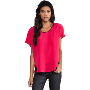krisa Washed Silk Pleated Top in Pink