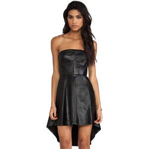 Shakuhachi Sculpted Leather Bustier Kick Dress in Black