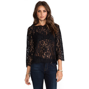 Joie Allover Lace Elvia C Top in Black
