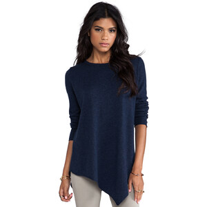 Joie Solid Wool Cashmere Tambrel Sweater in Navy