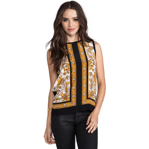 Joie Solid With Scarf Print Sakura Sleeveless Top in Black
