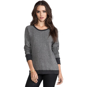 Soft Joie Annora Two Tone Terry Sweatshirt in Charcoal