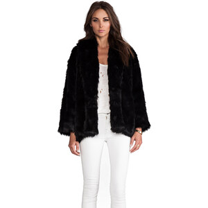 Alice + Olivia Alita Oversized Shawl Collar Faux Fur Coat in Black