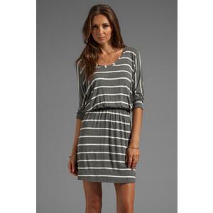 Splendid Short Sleeve Striped Mini Dress in Gray