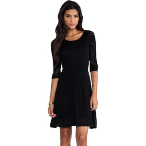 Catherine Malandrino Favorites 3/4 Sleeve Mixed Pointelle Dress in Black