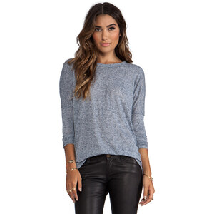 Daftbird Scoop Neck Fitted Long Sleeve Tee in Slate