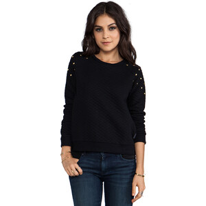 Lucca Couture Studded Shoulder Sweatshirt in Black