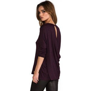 Riller & Fount Konrad Draped Open Back Top in Wine