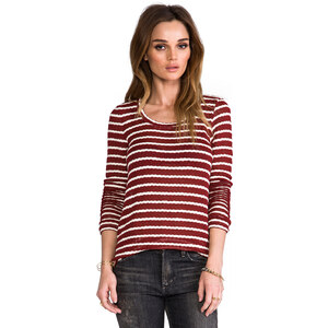 Whetherly Rib Stripe Rosewood Top in Wine