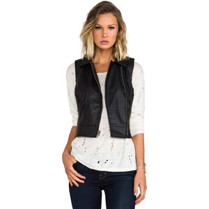 Jack by BB Dakota Virgo Textured Faux Leather Vest in Black