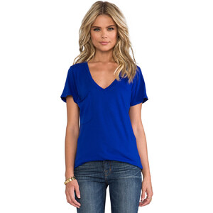 Bobi Lightweight Jersey Pocket Tee in Blue