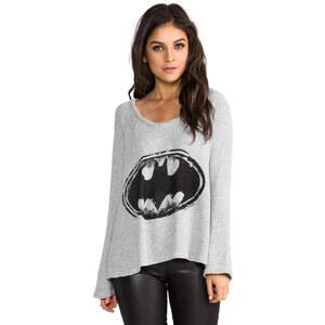 Lauren Moshi Kenna Batman Knit Pullover in Gray