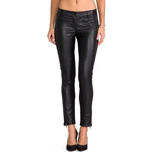 RVN Faux Textured Leather Zipper Leggings in Black