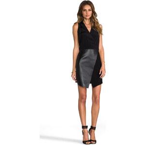 Tibi Asymmetrical Leather Wrap Dress in Black