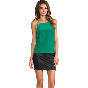 Tibi Strappy Silk Cami in Green