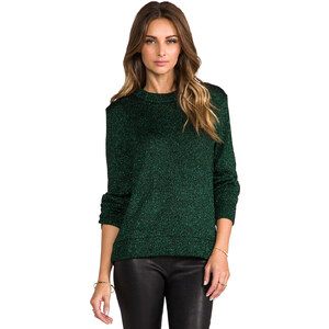Tibi Chunky Lurex Sweater in Green