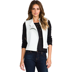 Theory Magazine Tatia Leather Vest in White