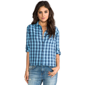 SUNDRY Button Up Flannel Shirt in Blue
