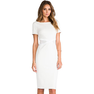 Halston Heritage Ponte Dress with Mesh Waist Inserts in Ivory