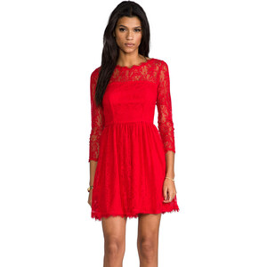 Juicy Couture Delicate Lace Dress in Red