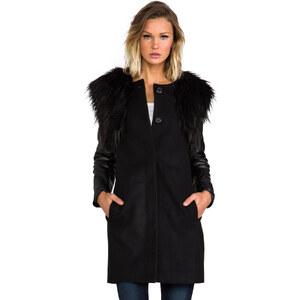 BB Dakota Cruz Melton Coat w/ Detachable Faux Fur Vest in Black