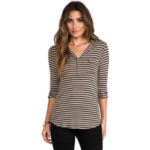 Splendid Striped Drapey Lux Shirting Top in Charcoal