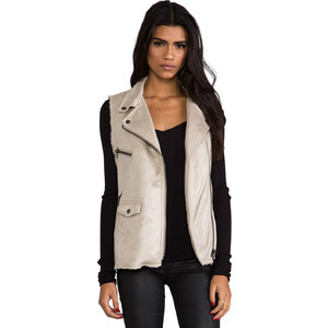 Sanctuary Vegan Leather and Faux Fur City Vest in Beige