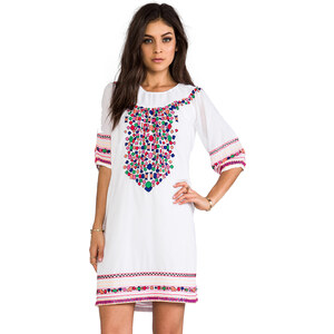 Pia Pauro Embroidered Off The Shoulder Dress in White