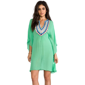Pia Pauro Short Kaftan w/ Embroidered Neck in Green