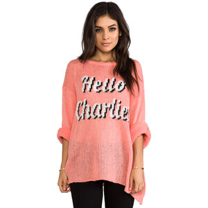 Wildfox Couture You Rang? Pullover in Coral