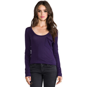 Bobi Light Weight Jersey Long Sleeve Pocket Tee in Blue