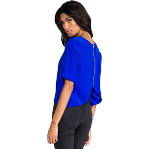 Amanda Uprichard Martina Zip Back Top in Blue