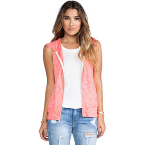 MONROW Vintage Sleeveless Hoody in Coral