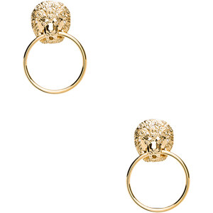Kenneth Jay Lane Lion Head Doorknocker Earrings in Metallic Gold