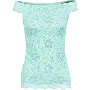 BODYFLIRT Spitzentop kurzer Arm in grün (Carmen-Ausschnitt) für Damen von bonprix