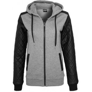 Urban classics Sweat-shirt Sweat zippé Manches Cuir Gris - Noir