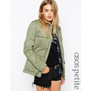 ASOS PETITE - Jacke aus gewaschener Baumwolle mit Utility-Detail - Khaki 27,99 €