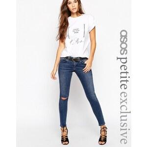 ASOS PETITE - Whitby - Jeans mit zerschlissenem Knie in mittlerer Waschung