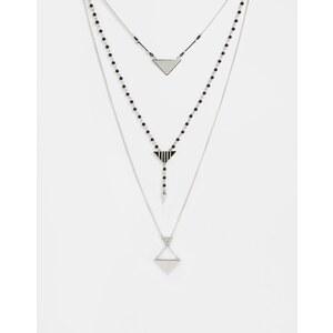 ASOS - Rosenkranz-Halskette mit Dreiecken - Silber