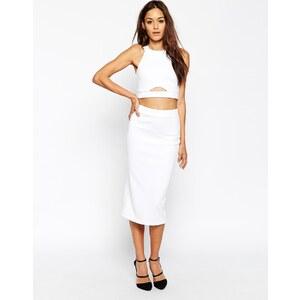 ASOS - Zweiteiliges figurbetontes Kleid aus Neopren - Weiß 26,99 €