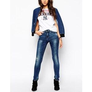 Blend - Knöchellange Skinny Jeans mit Löchern am Knie - Blau