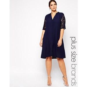 Carmakoma - Kleid mit Spitzeneinsatz - Blau