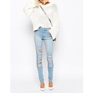 Cheap Monday - Second Skin - Skinny Jeans mit Used-Optik - Blau