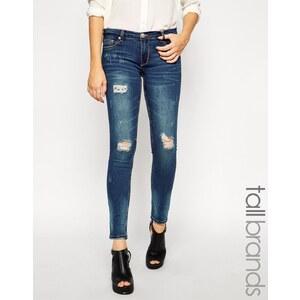 Glamorous - Tall - Enge Jeans im Used-Look - Blau