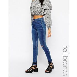 Glamorous - Tall - Skinny-Jeans mit Knieriss - Blau