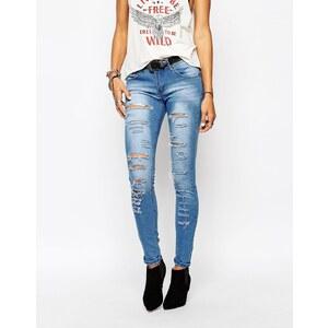 Liquor & Poker - Skinny-Jeans mit niedrigem Bund und Zierrissen - Mittelblau
