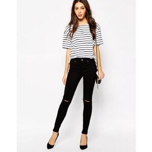 Oasis - Knöchellange Jeans mit zerrissenem Knie - Schwarz 41,99 €