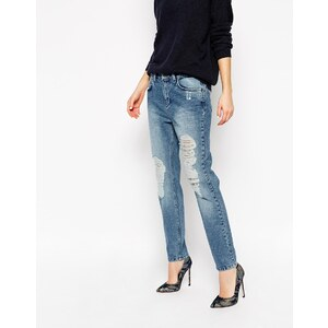 Selected - Roxy - Boyfriend-Jeans mit zerrissenem Knie - Denim in Mittelblau