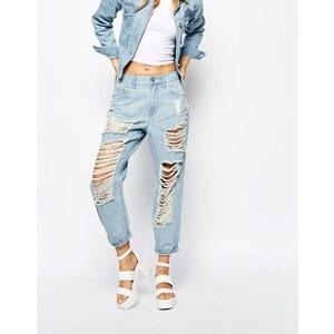WAVEN - Boyfriend Jeans in starker Used-Optik - Hellblau
