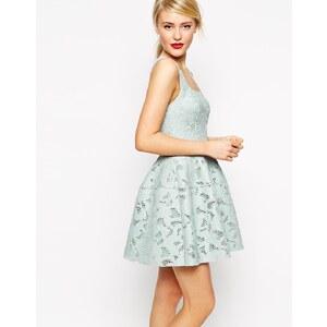 ASOS - Kleid mit ausgestelltem Rock und Netzapplikation - Rosa